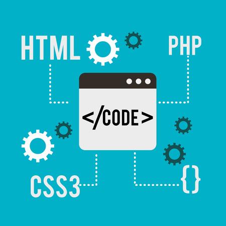 program coding website window php css3 html vector illustration