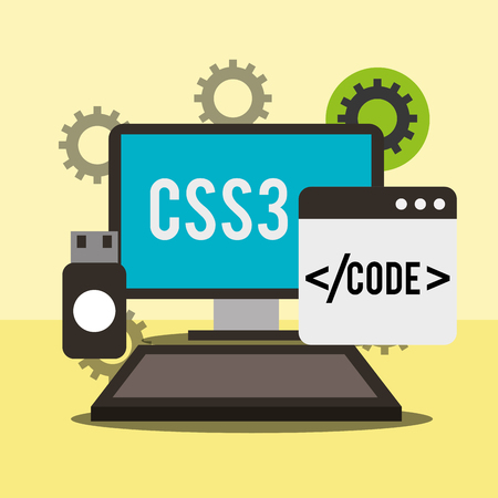 program coding computer language css3 usb memory gears vector illustration