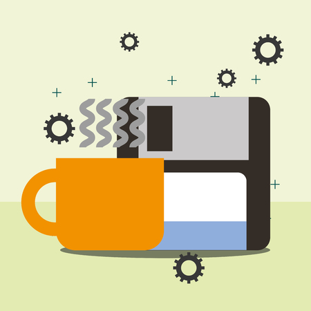 floppy copy software and coffee cup program coding vector illustration