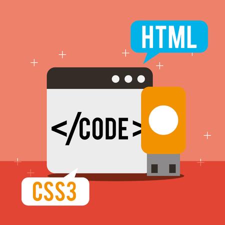 program coding website language usb backup vector illustration 일러스트