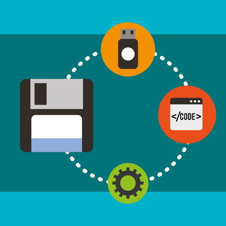 program coding floppy usb website engineering vector illustration