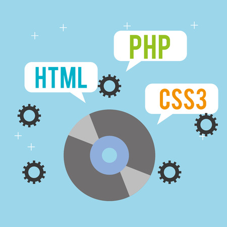 program coding compact disk html php and css3 vector illustration