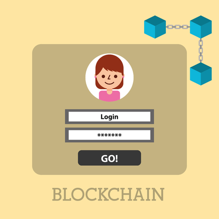 website cyber security blockchain digital vector illustration Illustration