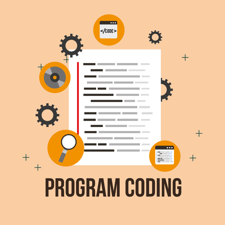 program coding software development listing vector illustration
