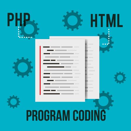 program coding document page html settings vector illustration Çizim