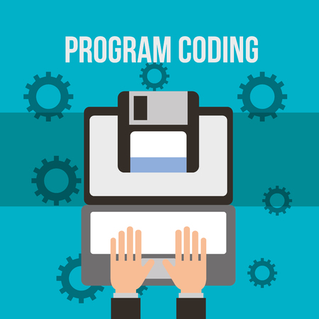 hands typing laptop floppy program coding vector illustration