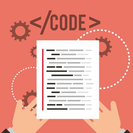 hands holding page document program coding vector illustration Illustration