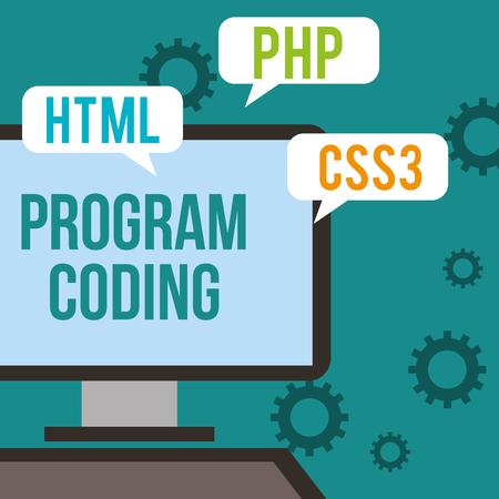 data digital technology css3 html php program coding vector illustration