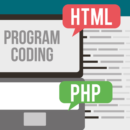 program coding computer html and php sources vector illustration Ilustrace