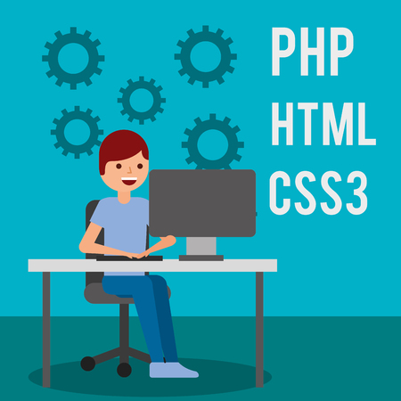 programmer working in computer website program coding vector illustration Illustration