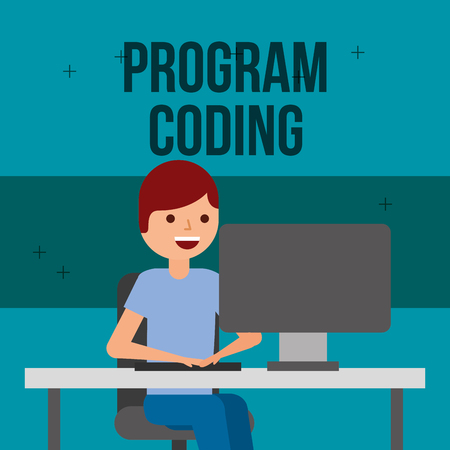 programmer work computer at desk program coding vector illustration