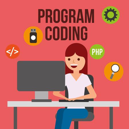 woman programmer computer usb search program coding vector illustration Illustration