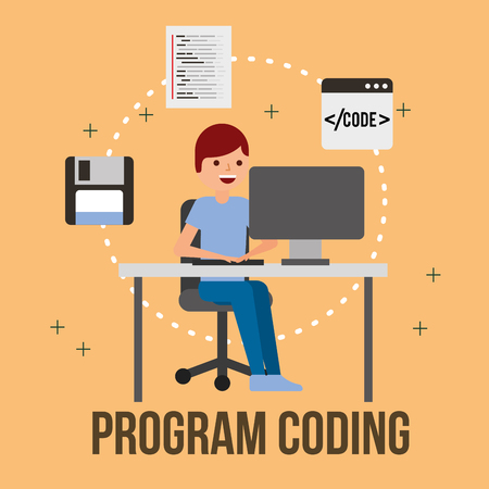 man programmer computer floppy web program coding vector illustration