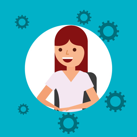 portrait young woman character engineer vector illustration Illustration