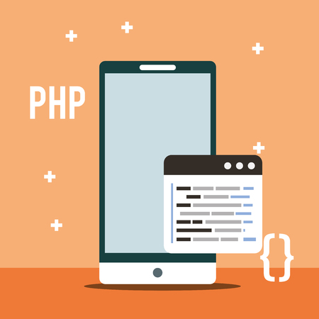 smartphone program coding php digital vector illustration