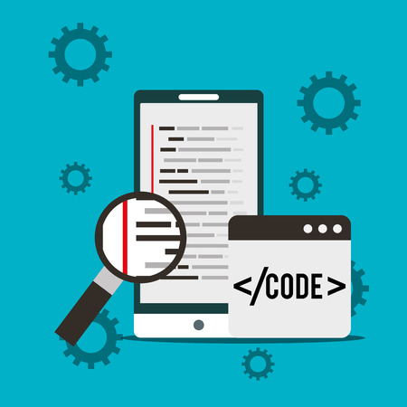 smartphone program coding magnifying glass search vector illustration