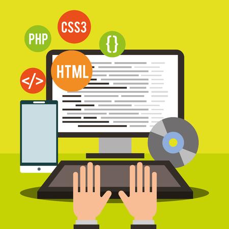 hands working laptop program coding phone disk vector illustration Illustration