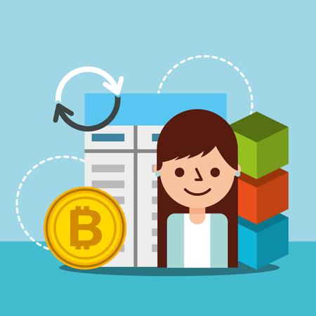 business woman financial bitcoin blockchain transaction vector illustration Reklamní fotografie - 115098997
