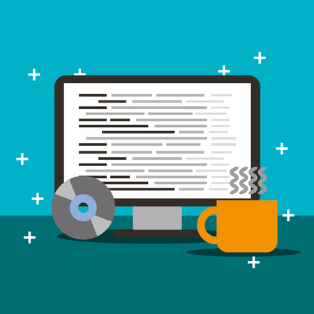 program coding computer and coffee cup vector illustration Imagens - 115099002