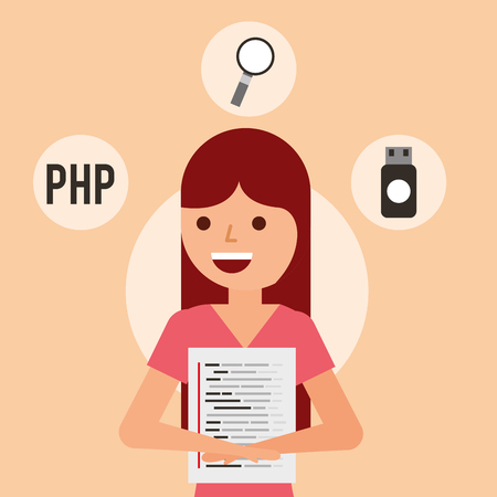 young woman page program coding usb searching vector illustration