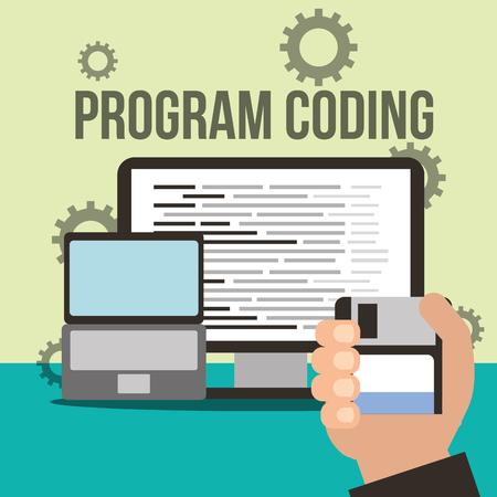 hand holding disk laptop computer program coding vector illustration