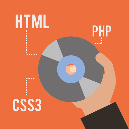 hand with compact disk code html php and css3 vector illustration