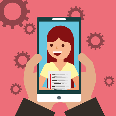 hand with phone woman programmer coding vector illustration