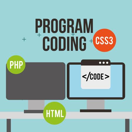 computer screen program coding development software digital vector illustration