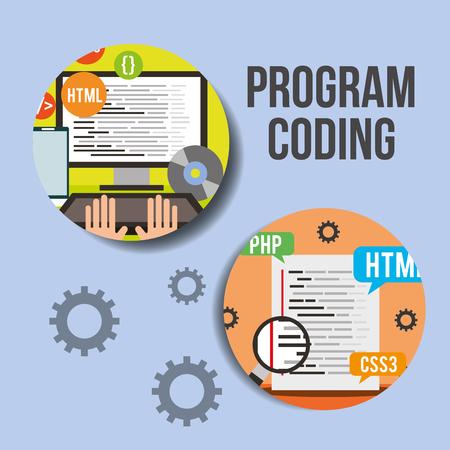program coding computer language software work vector illustration