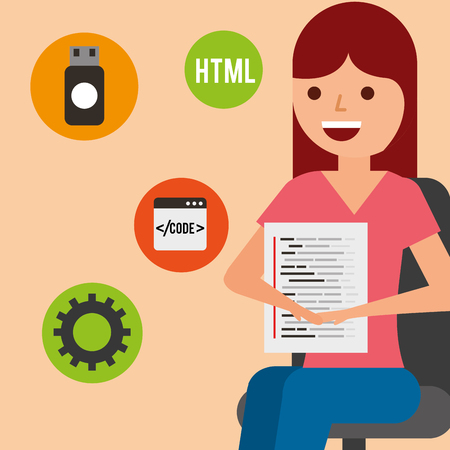 young woman sitting with page program coding vector illustration