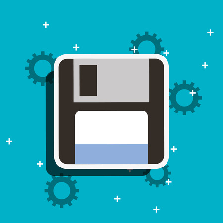 retro floppy disk backup copy vector illustration Stock Illustratie