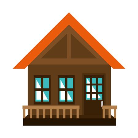 Diseño de ilustración de vector de icono de fachada de casa de madera