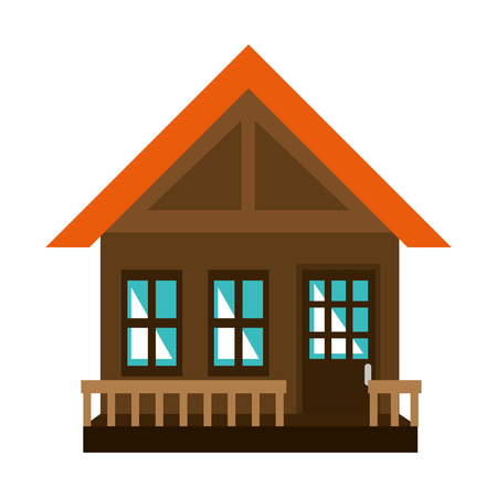 wooden house facade icon vector illustration design