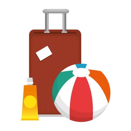 beach balloon with suitcase and bloker vector illustration design Standard-Bild - 115099037