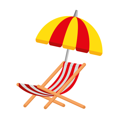 Playa de sombrilla con silla, diseño de ilustraciones vectoriales