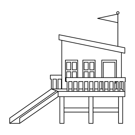 baywatch booth building icon vector illustration design