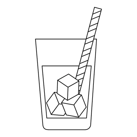 fresh beverage in glass with straw vector illustration design