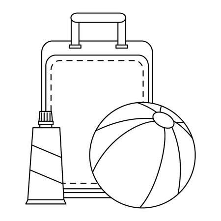 beach balloon with suitcase and bloker vector illustration design Ilustração
