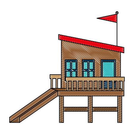 baywatch booth building icon vector illustration design Archivio Fotografico - 104245447