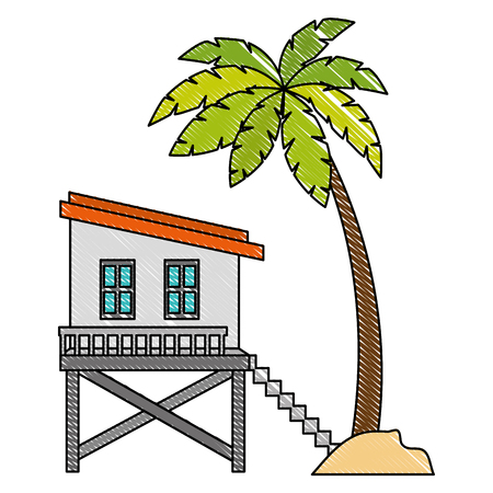 baywatch booth building with trees palms vector illustration design Archivio Fotografico - 104245450