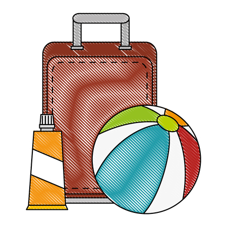 beach balloon with suitcase and bloker vector illustration design 向量圖像