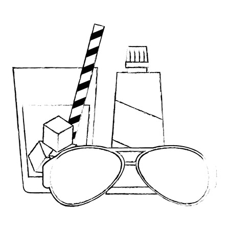 sunglasses summer with sun blocker and drink vector illustration design