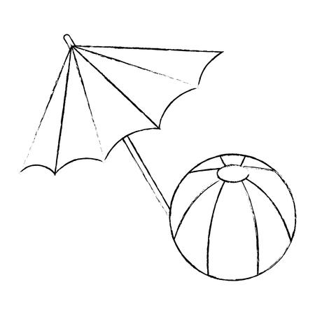 umbrella beach with balloon vector illustration design