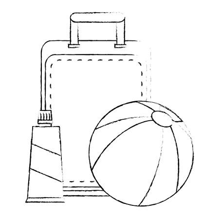 beach balloon with suitcase and bloker vector illustration design Иллюстрация