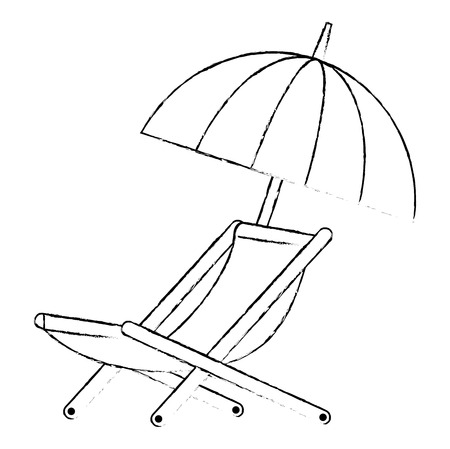 umbrella beach with chair vector illustration design