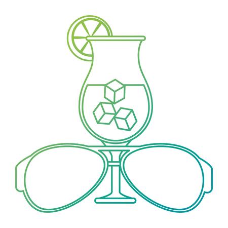 sunglasses summer with cocktail vector illustration design Standard-Bild - 115104402