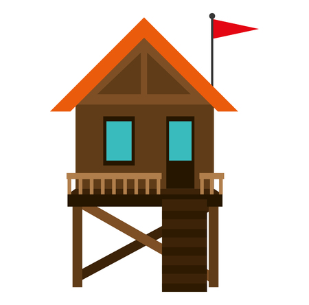 baywatch booth building icon vector illustration design Archivio Fotografico - 104245852