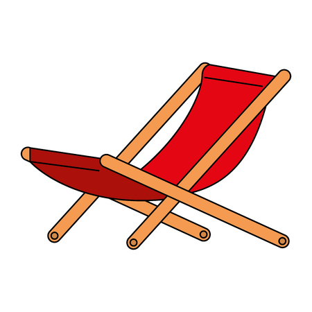 wooden beach chair icon vector illustration design