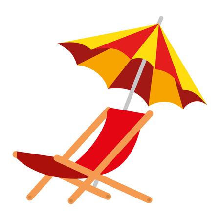 umbrella beach with chair vector illustration design