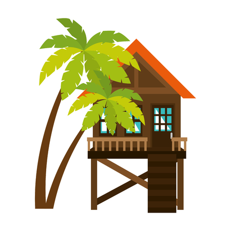 baywatch booth building with trees palms vector illustration design Archivio Fotografico - 104246452